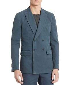 Calvin Klein Mens Sport Coat Blue Size Small S Weekday Double Breasted $198 #030