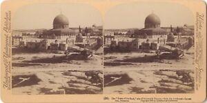 Objectif Jerusalem Dome Du Rocher Stereo Stereoview Vintage