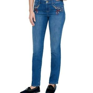 TOMMY-HILFIGER-Women-039-s-Embroidered-Mid-rise-Greenwich-Straight-Leg-Jeans-TEDO