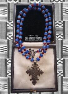 VINTAGE-ART-DECO-VENETIAN-CHEVRON-TRADE-BEADS-AFRICAN-COPTIC-CROSS-NECKLACE-GIFT
