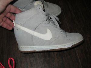 low priced 4af62 87f9b Image is loading Nike-Dunk-Sky-Hi-High-Wedge-Light-Grey-