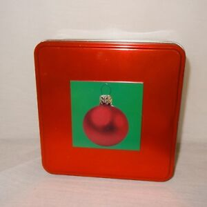 Christmas-Ornament-Tin-Box-Storage-Square-Metal-6-034-Empty-Gift-Red-Green
