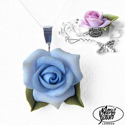 Expressive Blue Rose Necklace Stg Silver Chain Bridal Flower Wedding Floral 218 Excellent Quality In