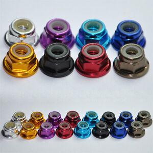 M2-M3-M4-M5-Aluminum-Flanged-Nylon-Lock-Nut-X-10-Purple-Blue-Red-Gold-Pink-Green