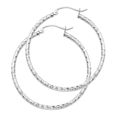Authentic Real 14K White Gold Diamond Cut Plain Hoop Earrings 2.0 MM Thickness