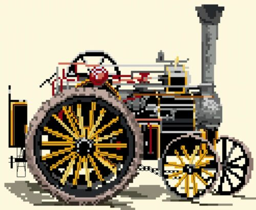Fowler Traction Engine counted cross stitch kit//chart 14s aida