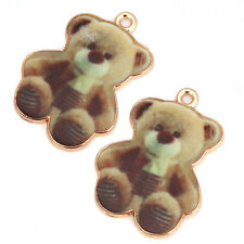 20Pcs Wholesale New Gold Plated Cute Animal Bear Charms Alloy Pendants L