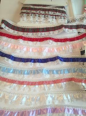 D0VECRAFT New 2inch slight frilled   lace with satin detail £1.75 mt New Tartan