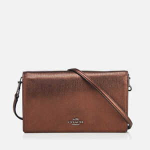 dfb8af6d7990 Image is loading Coach-Metallic-Foldover-Polished-Pebble-Leather-Crossbody- Clutch-