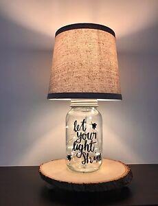 Image Is Loading Firefly Mason Jar Rustic Lamp Real Tree Base