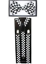 Checkered Black SUSPENDERS and BOW TIE COMBO SET Unisex Adjustable Suspender Ema