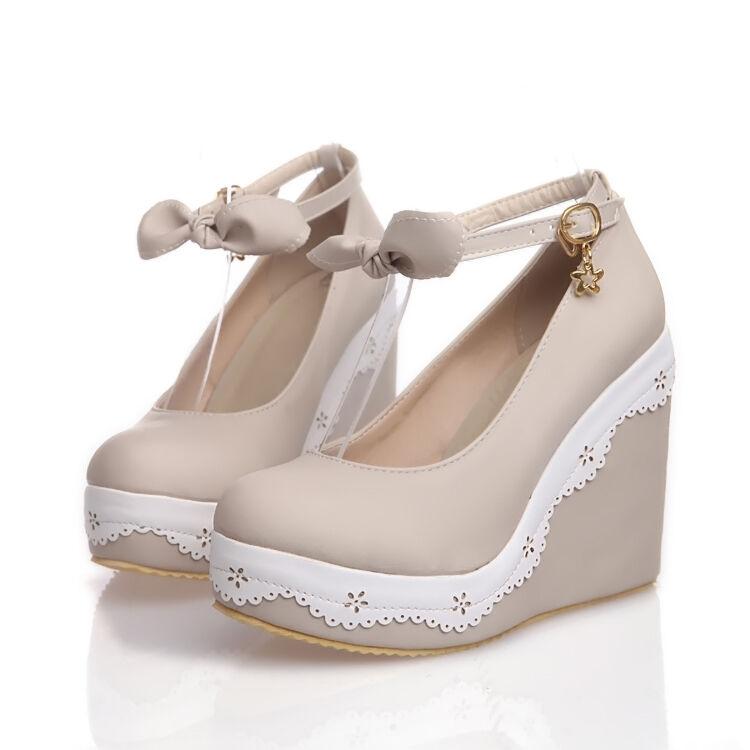 Mary Jane Jane Jane Womens Round Toe Bowknot Ankle Strap Wedge Heel Lolita shoes Sweet 8b0e33