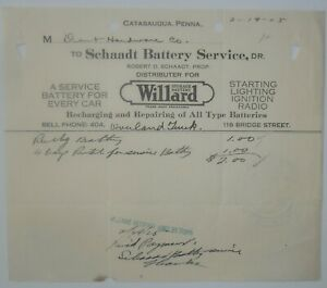 1925-Billhead-Catasauqua-Pennsylvania-Schaadt-Battery-Service