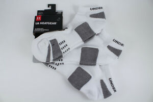 d29586ae Details about UNDER ARMOUR UA HEATGEAR NO SHOW SOCKS 3-PACK WHITE/GRAY US  MENS SHOE SIZE 4-16