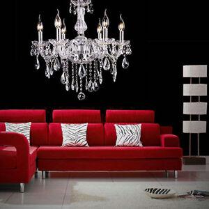 6-Feux-Lampe-pampilles-Lustre-Cristal-Plafonnier-Suspension-Luminaire-Ceiling