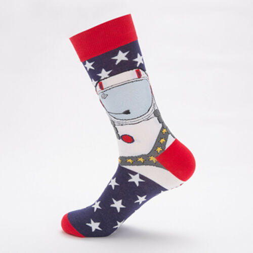5Pairs Mens fashion happy socks Spaceman Watermelo Novelty Casual Dress Socks