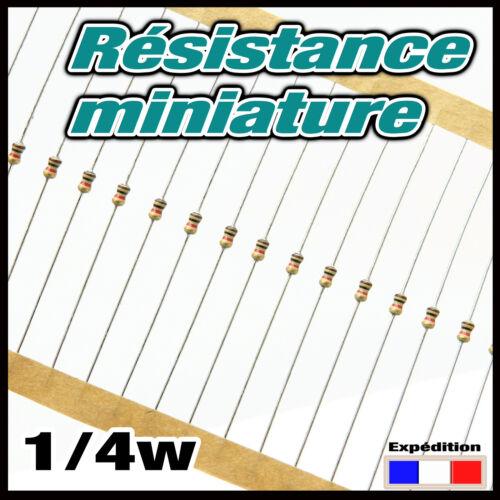 2.7RM#20 à 250pcs 2,7 ohms résistance miniature 1//4w resistor 0,25w taille 1//8