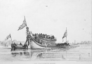 STATIONER-039-S-BARGE-Rowed-by-Men-in-Stern-Original-Etching-Print-by-E-W-Cooke