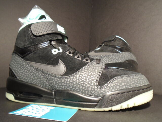 2013 REVOLUTION Nike Air Force 1 REVOLUTION 2013 PREMIUM QS GLOW LOVERUTION BLACK GREEN GREY 9.5 453516