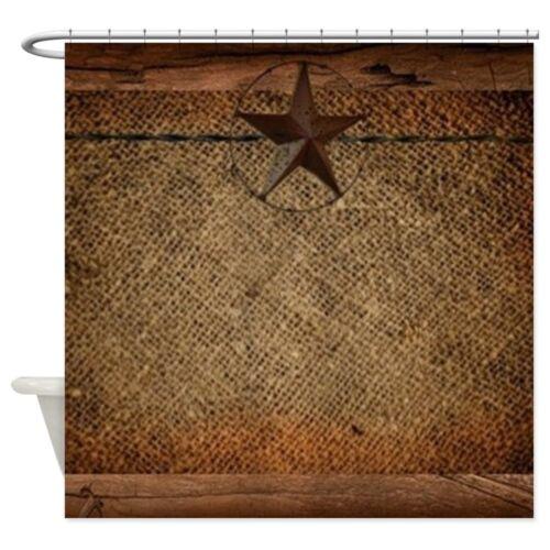 CafePress Burlap Barn Wood Texas Star Shower Curtain 1623957385
