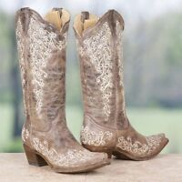 Corral Ladies Distressed Brown Crater Bone Embroidery Snip Toe Boots A1094