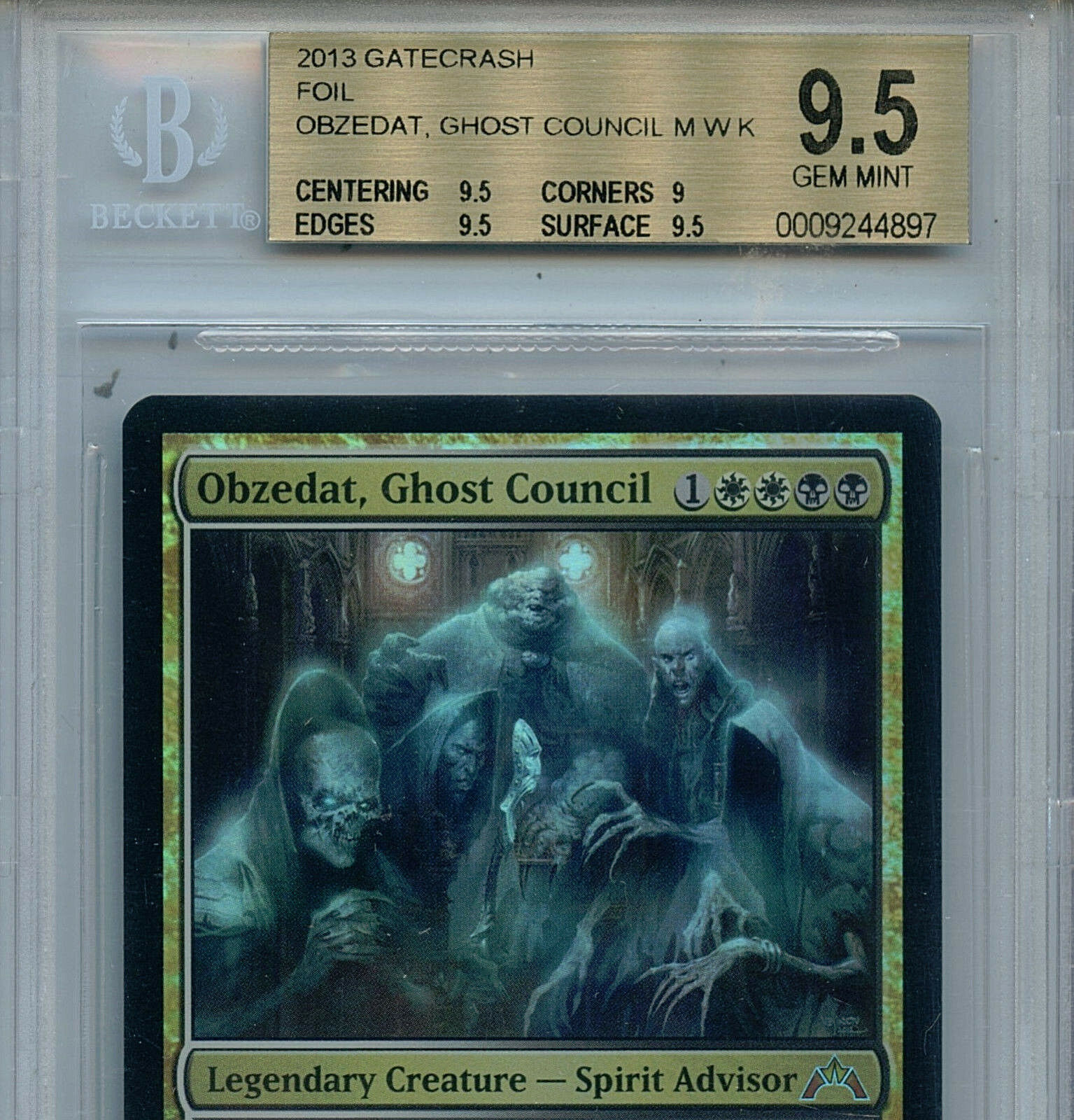 MTG Obzedat Ghost Ghost Ghost Council BGS 9.5 GM Gatecrash Mystic Foil Magic Card  Amricons 780389