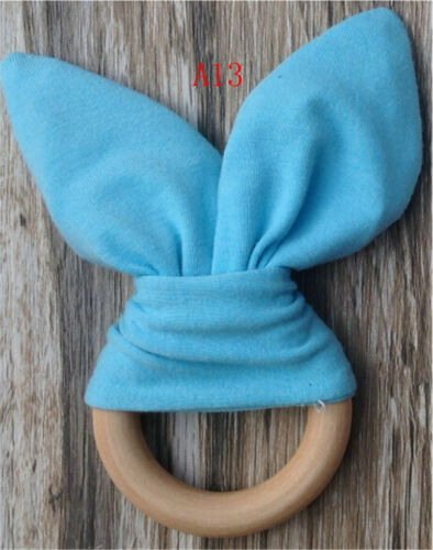 Safety Wooden Natural Baby Rabbit Teething Ring Teether Bunny  Babies TeethersZN