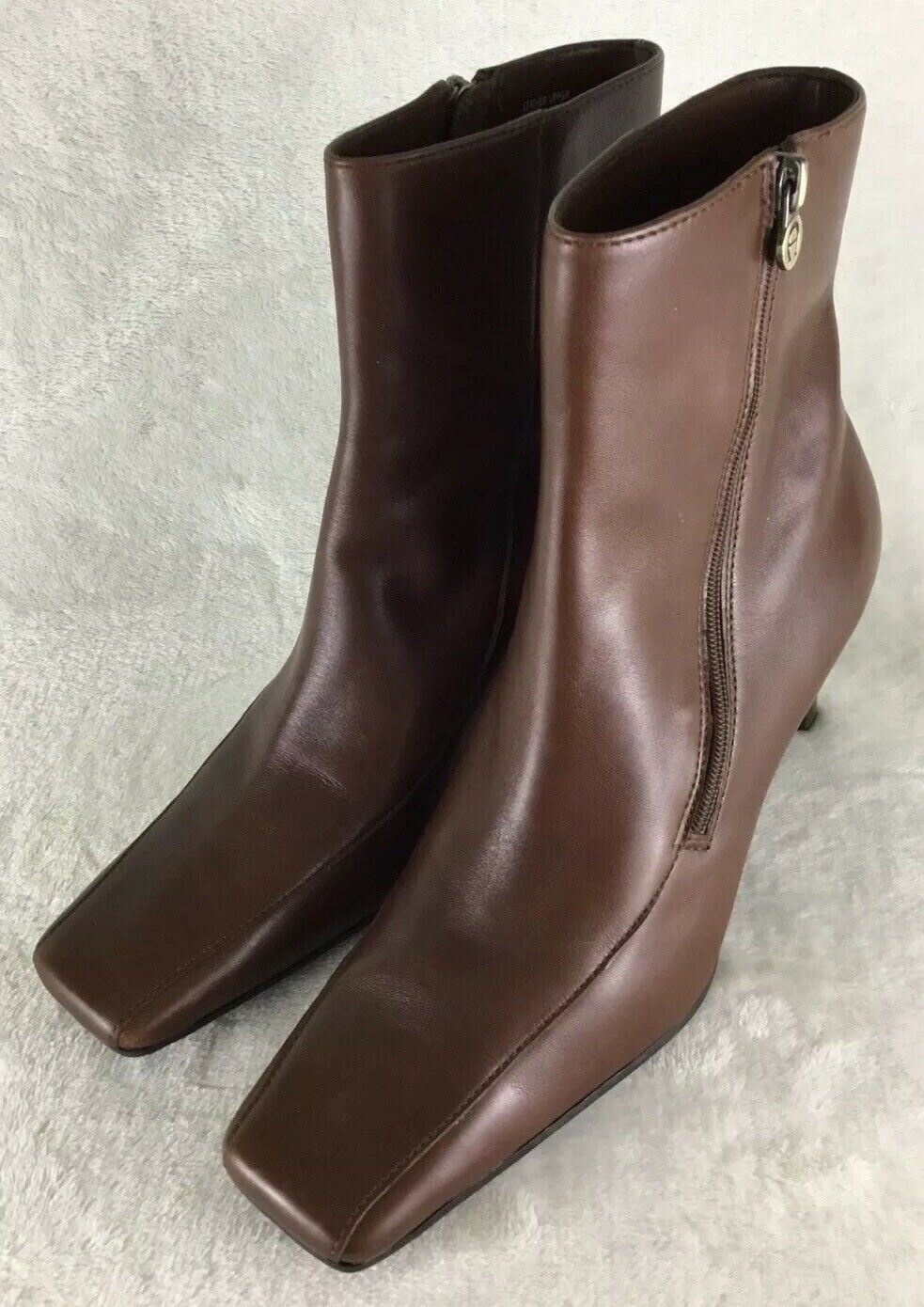 Etienne Aigner Womens Brown Leather Square Toe High Heel Ankle Boots E-Day Sz 6M