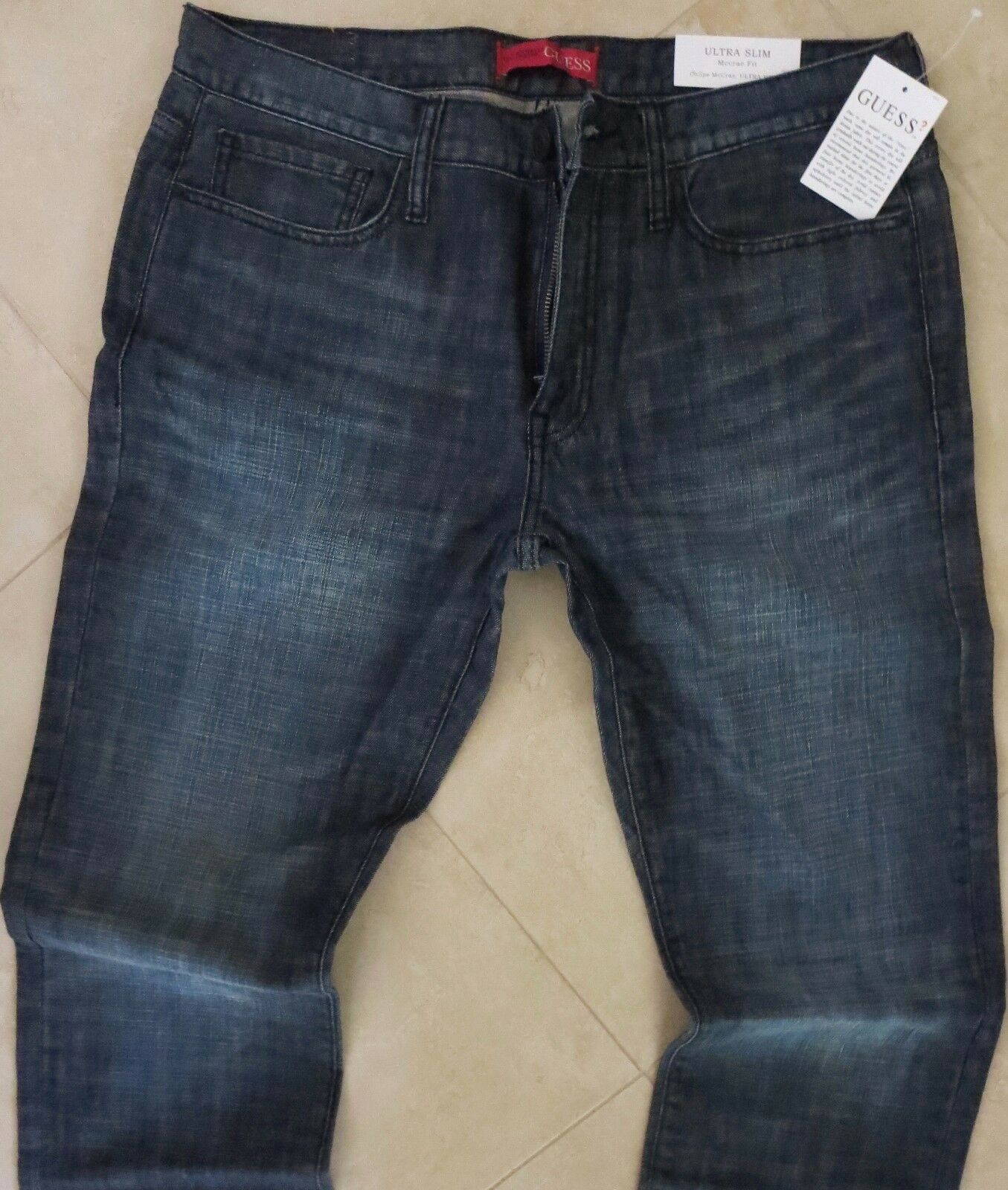 Guess Slim Straight Leg Jeans Men Size 29 X 30 Ultra Slim Dark Distressed Wash