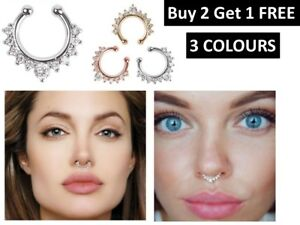 Fake Septum Clicker Nose Ring Non Piercing Hanger Clip On Jewelry