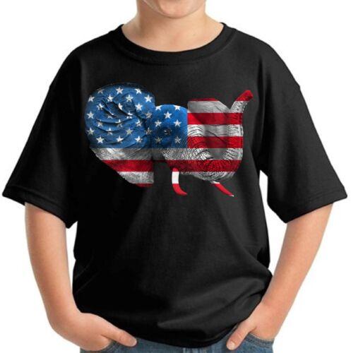 USA Flag Elephant Youth Kids T shirt Tops 4th Of July USA Flag Colors