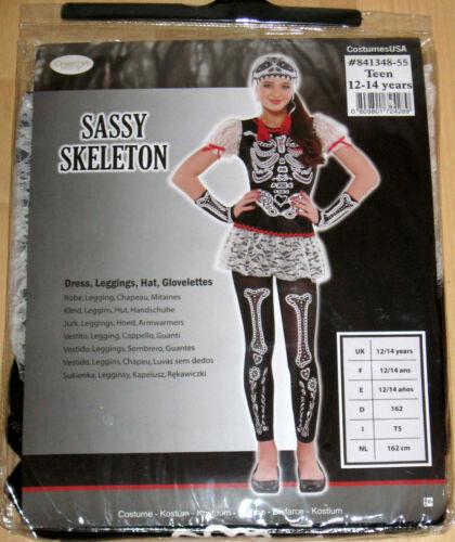 164 Karneval Fasching Knochen Skelet Halloween Kostüm Sassy Skeleton Gr 134