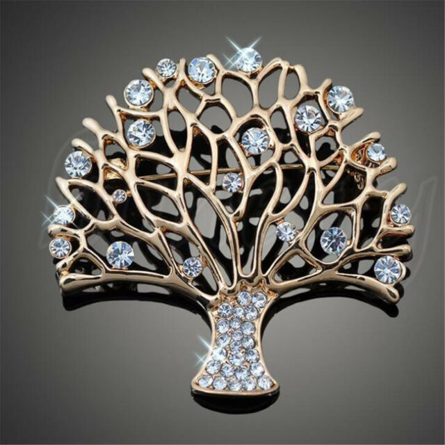 Fashion Jewelry Tree of Life Brooch Pin Party Wear Crystal Tropical Brooch  Pin bb09115e2677