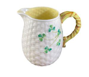 Vintage Belleek Cream & Green Shamrock Basket Weave Creamer 5th Mark 1955-1965