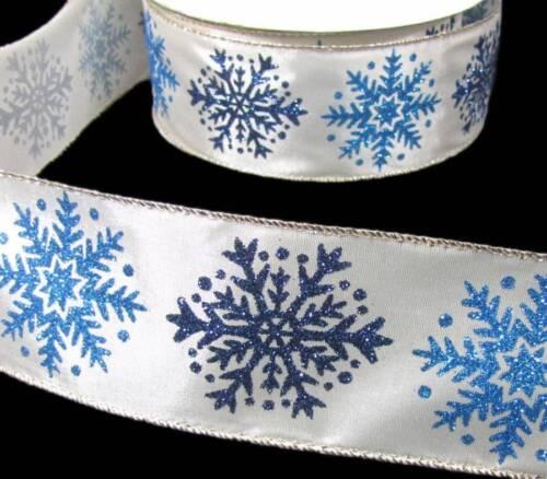 5 yds Hiver Noël Bleu Paillettes Flocons de neige Moderne Ivoire Satin Filaire Ruban 2