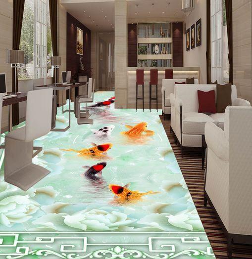 3D Grün Plain Goldfish Floor WallPaper Murals Wall Print Decal 5D AJ WALLPAPER