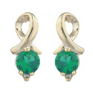 Details About 14kt Gold Emerald Diamond Round Design Stud Earrings