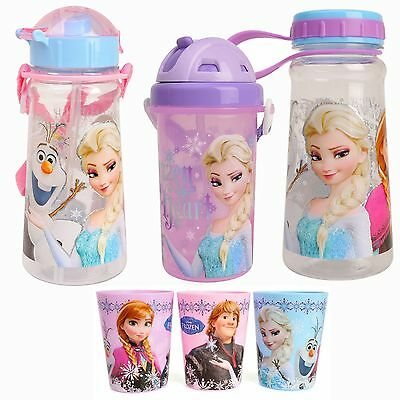 Disney FROZEN Water Bottle Kids Sports Cute Straw Shoulder Strap BPA Free Tritan