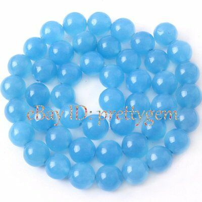 4MM 6MM 8MM 10MM 12MM 14MM ROUND LIGHT BLUE JADE GEMSTONE BEADS STRAND 15""