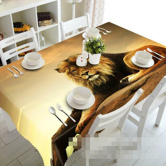 3D Big Lion 218 Tablecloth Table Cover Cloth Birthday Party Event AJ WALLPAPER
