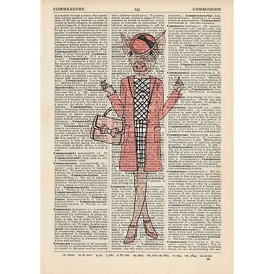 Pretty In Pink Pig  Dictionary Wall Picture Art Print Vintage Animal In Clothes