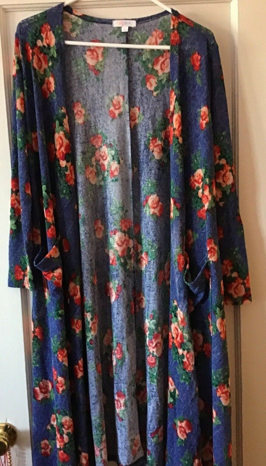 Lularoe bluee Floral pink Sarah Long Cardigan Small