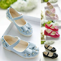 Summer Kids Girls Wedding Flower Bow Flat Slip On Sandals Princess Party Shoes