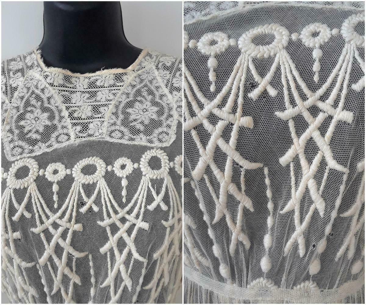 Lovely Antique Edwardian Embroidered Cotton Net D… - image 5
