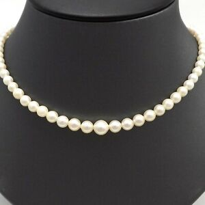 14K Gold Chain White Gold Necklace White Akoya Cultured Pearl Choker Necklace