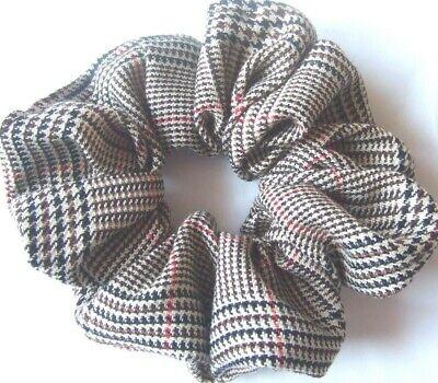 Light Dark Grey Tartan print Scrunchie Hair Elastic Band Bobble Ladies Girls