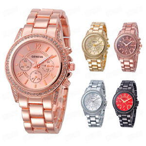 Geneva-Fashion-Women-Watch-Crystal-Stainless-steel-Band-Faux-Chronograph-Watches