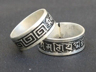 Vintage Solid Tibetan Triangular Corrugated Carved Sawtooth Peace Blessing Ring