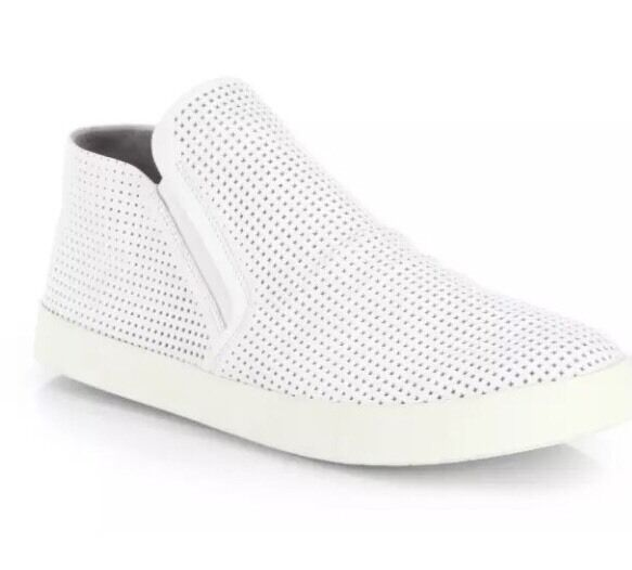 Vince Women's White Parry Perforated Leather Laceless Sneakers 6338 Sz 6.5M 37EU
