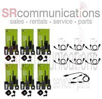 6 Motorola Rmu2040 Uhf 2w 4ch Radios 6 Surveillance Headsets 1 Programming Cable